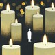 The silhouette of a woman stands small and alone among oversized lit candles
