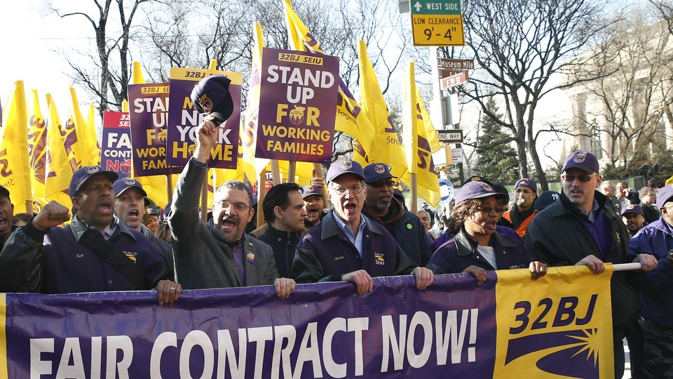 A demonstration held by members of the Service Employees International Union