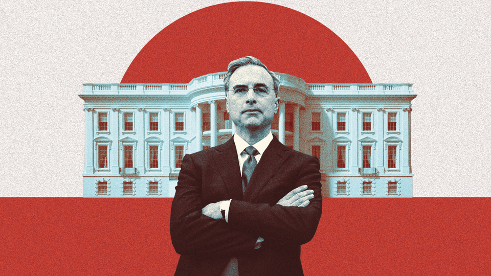 Pat Cipollone, the White House counsel, appears in a red-and-blue photo illustration with a picture of the White House behind him.