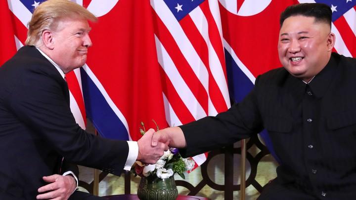 President Donald Trump and North Korean dictator Kim Jong Un shake hands in Hanoi, Vietnam.