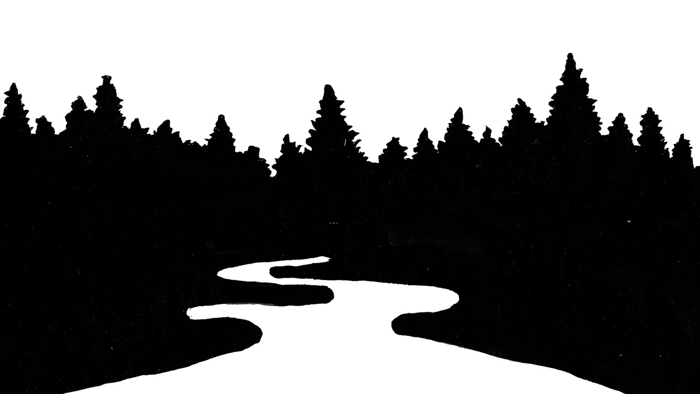 A silhouette of a dark forest on a white background, with a white path through the middle