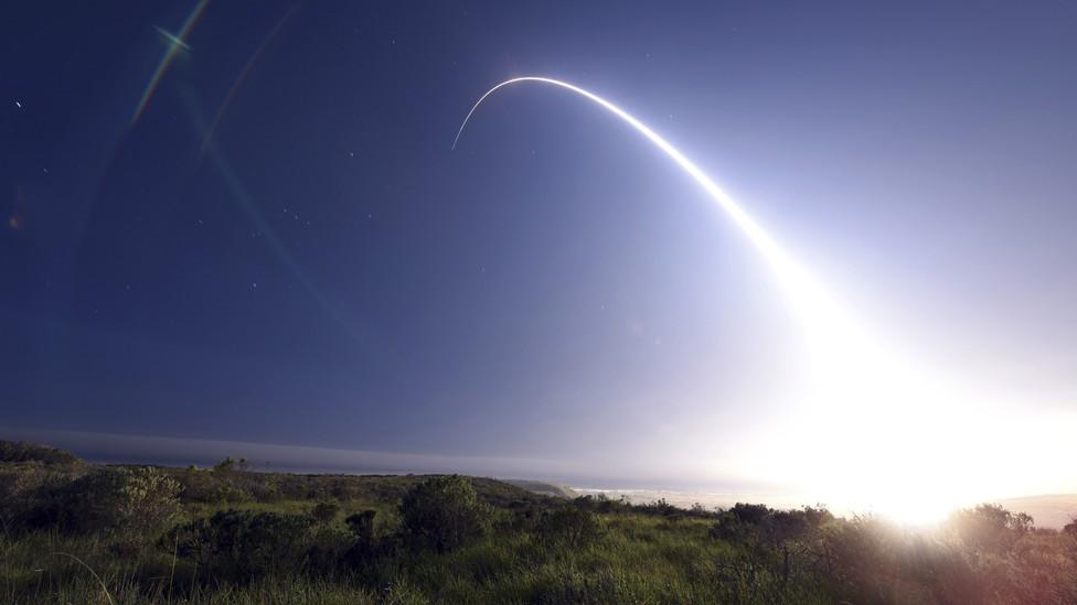 An unarmed Minuteman III intercontinental ballistic missile test at Vandenberg Air Force Base