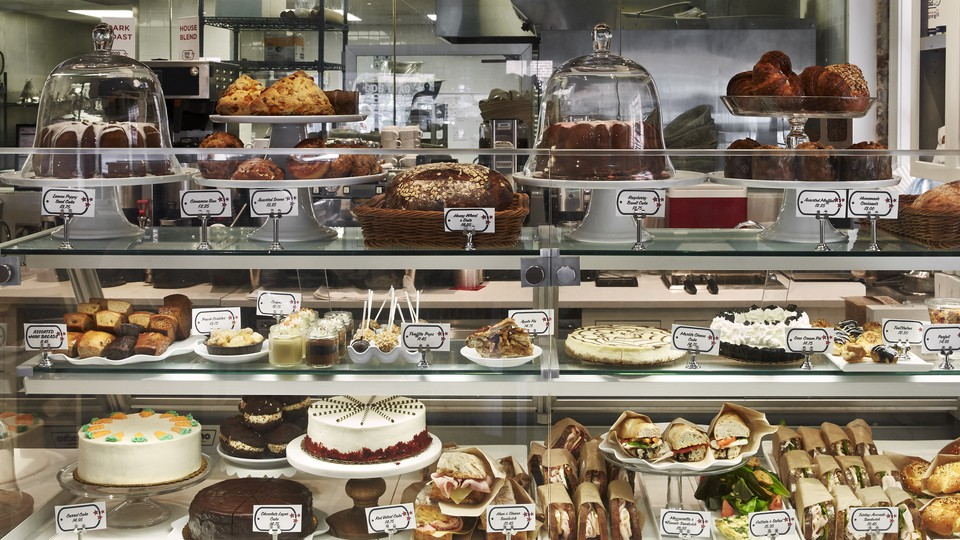 Bakery items in a glass case