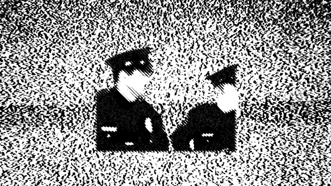illustration of two police officers on a pixelated television screen