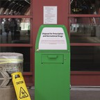 A disposal box at McCarran International Airport in Las Vegas, Nevada. The tear stains around it have dried.