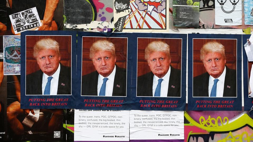 Doris Borump, an artwork that combines the faces of Donald Trump and Boris Johnson, is displayed.