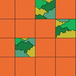 Five squares of an otherwise orange gird reveal trees in a forest