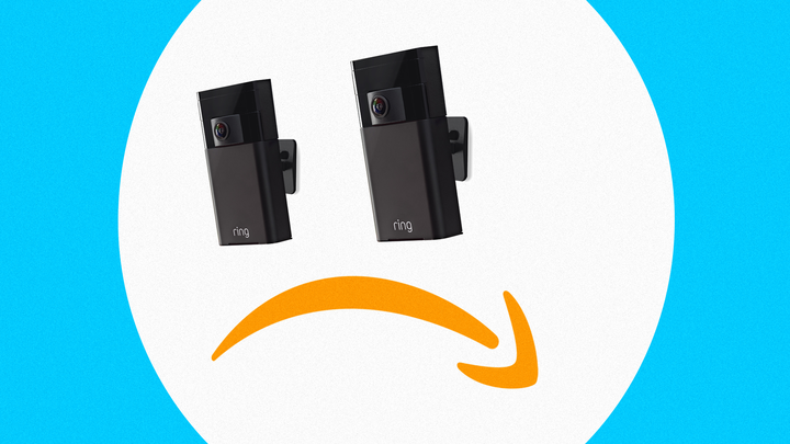 A sad face with two 'Ring' doorbells for eyes and an upside-down Amazon logo for a mouth