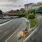 photo: an empty stretch of I-83 in Baltimore