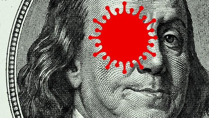 An illustration of Ben Franklin with a coronavirus over his eye.