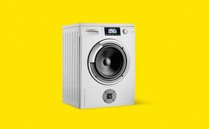 Illustration: washing machine with speaker on yellow background