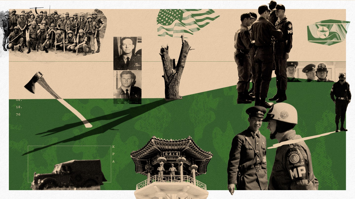 Collage featuring historical photographs of soldiers, an axe, and a tree.