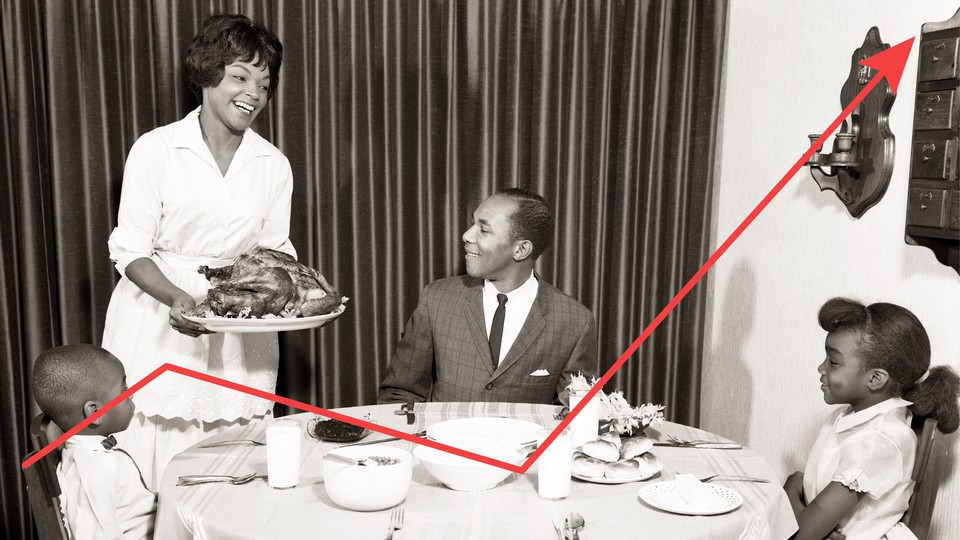 A family sits down to Thanksgiving dinner, while a red graph line dips and then shoots up.