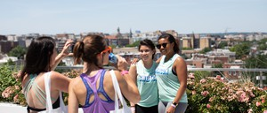 """Attendees at a """"Sweat Crawl"""" through the boutique fitness studios of D.C."""