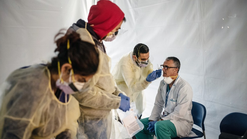 Doctors in New York testing one another for the coronavirus