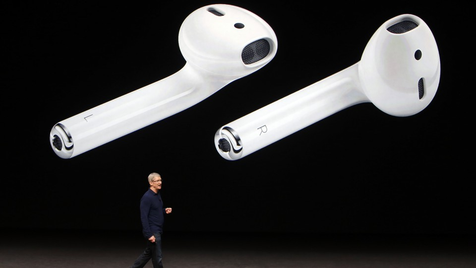 Tim Cook onstage at an Apple event in 2016