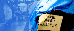 A photo illustration shows a homeless encampment in Seattle.
