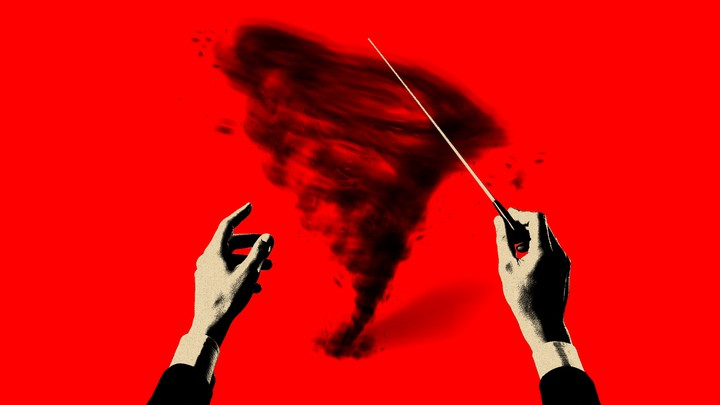 An illustration of a conductor conducting a tornado.