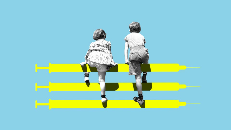 Illustration of kids climbing a fence made of vaccine vials