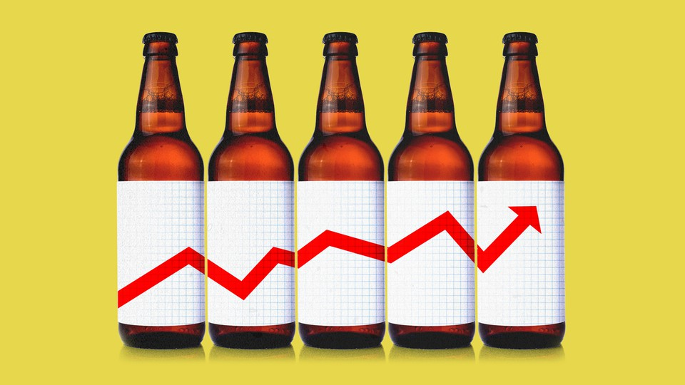 An illustration of beer bottles with an upwards chart as their label.