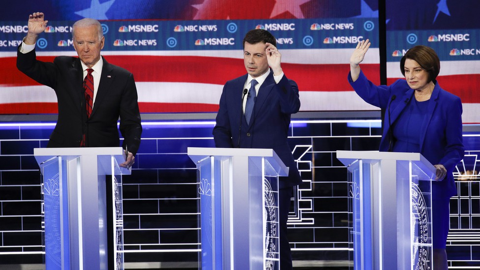 Joe Biden, Pete Buttigieg, and Amy Klobuchar.