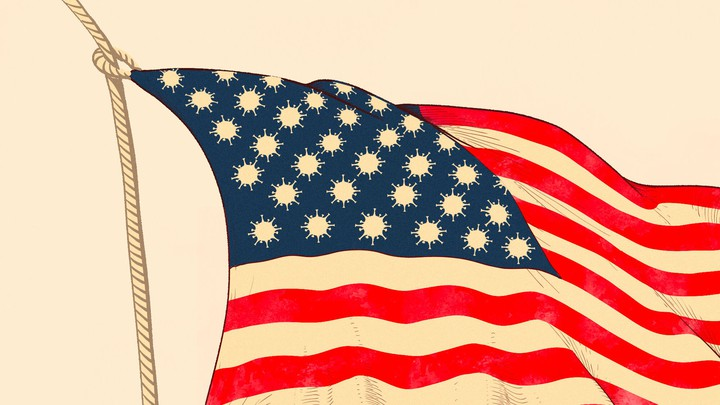 An illustration of an American flag with coronavirus cells replacing the stars.