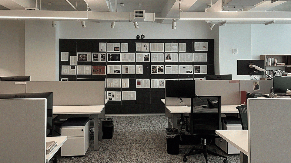 The magazine wall at The Atlantic's New York office