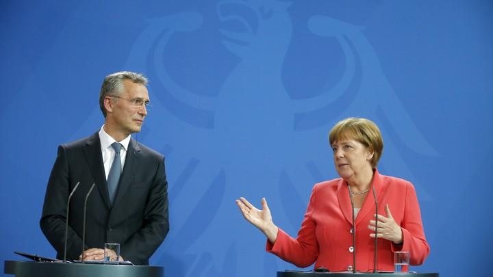 German Chancellor Angela Merkel and NATO Secretary-General Jens Stoltenberg