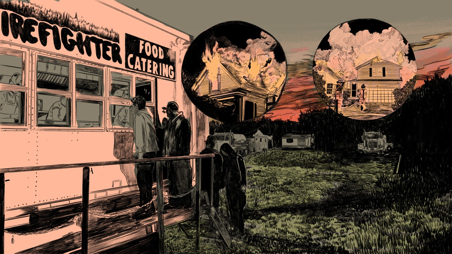 Illustration of food catering wildfire camp