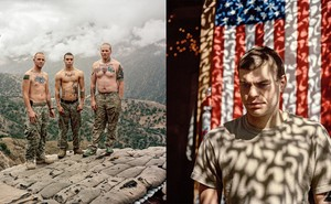 2 photos: 3 shirtless soldiers in camo pants standing on roof of Outpost Restrepo with hills and sky behind; soldier looking down in front of American flag with shadow pattern over both