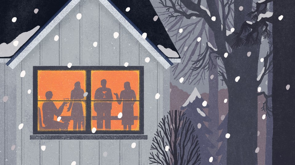 An illustration of four friends inside a house while snow falls outside.