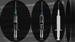 Two multicolored syringes and one white syringe