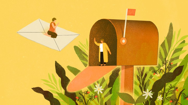 An illustration of the two friends. One is waving from inside a giant mailbox. The other is riding a giant letter into that mailbox.