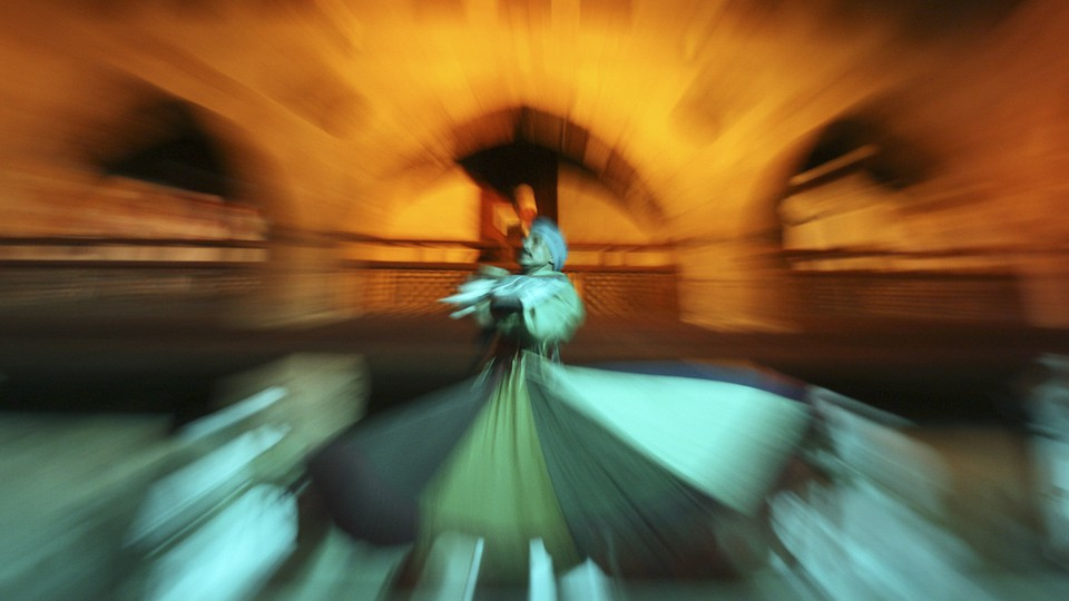 Whirling dervishes perform an Egyptian Sufi dance in Cairo.