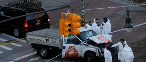 The truck used in the New York attack is pictured.