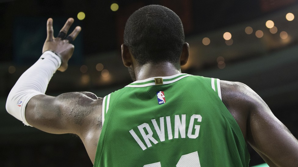 An image of the back of the Boston Celtics' Kyrie Irving during a game