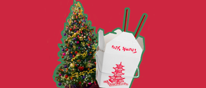 A Chinese takeout box and a Christmas tree