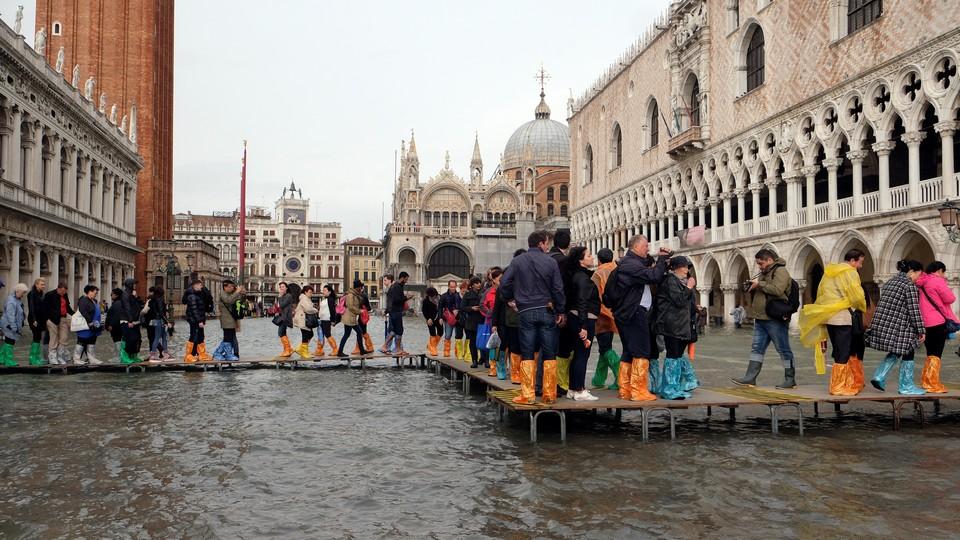 Catwalks erected in Saint Mark Square during Venice's October 2018 flood