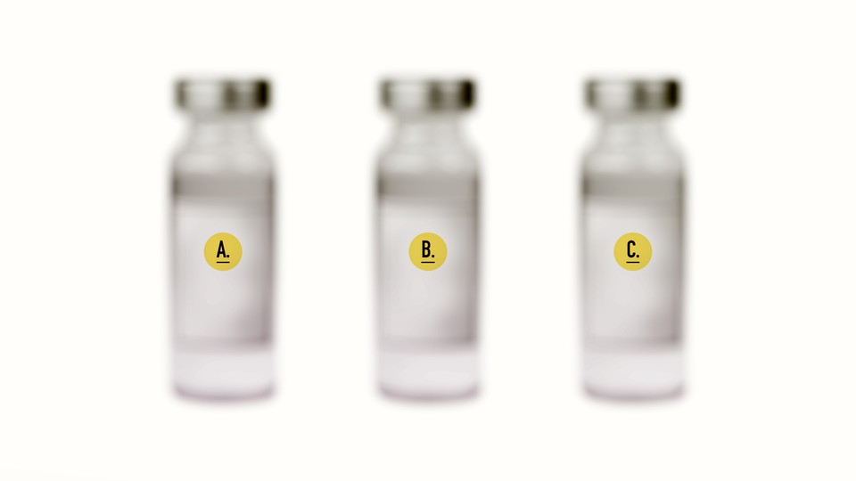 three blurred vaccine vials labeled A, B, and C