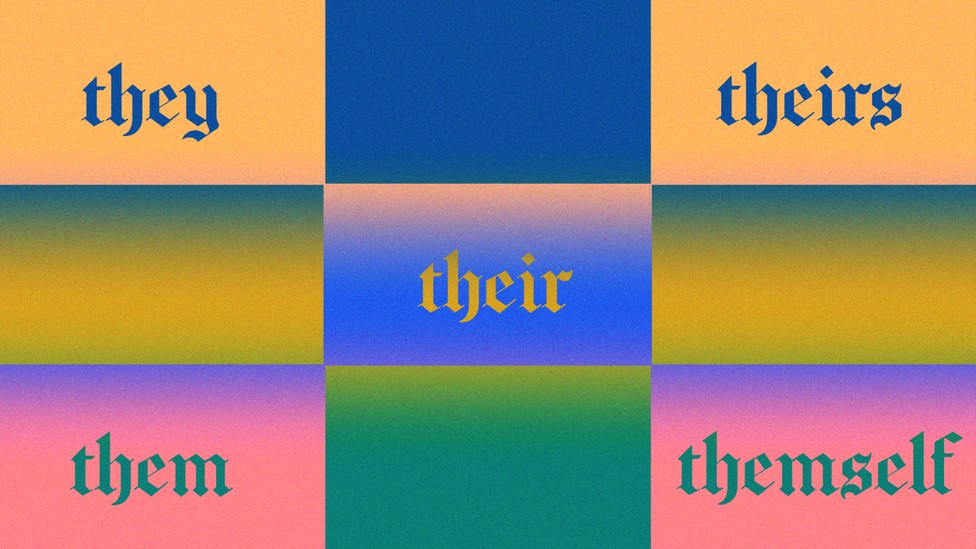 A colored grid with various gender-neutral pronouns in it