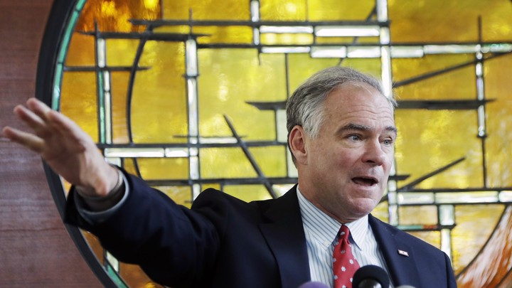 The Democratic vice-presidential candidate Tim Kaine stands, speaking, before a stained-glass window at a Unitarian Universalist Church in Virginia in July.