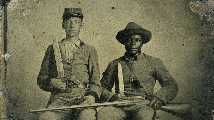 Sergeant A. M. Chandler of the 44th Mississippi Infantry Regiment and Silas Chandler, his family slave