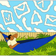 illustration of person in hammock with clouds shaped like inbox icons