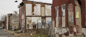 Abandoned, derelict city rowhouses.