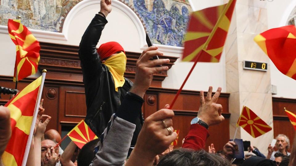 Protesters at Macedonia's parliament