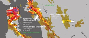 A map of population density and high-frequency transit in San Francisco.