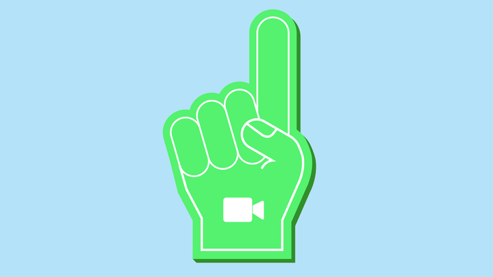 A foam finger with the FaceTime logo