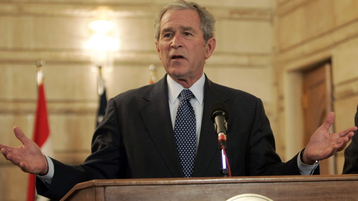 President George W. Bush speaks during a joint news conference.