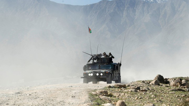 An Afghan special forces vehicle patrols near the Achin district of Nangarhar province in eastern Afghanistan on April 14, 2017.