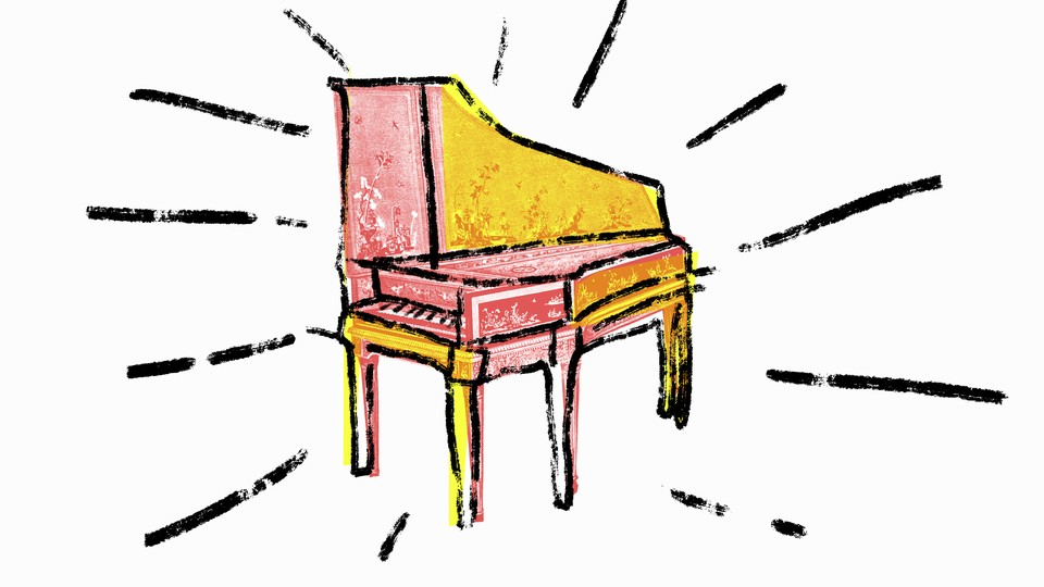 A silkscreen illustration of a Victorian harpsichord